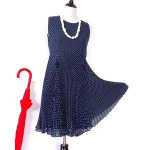 Chetta B Retro Navy Polka Dot Dress Sz 8